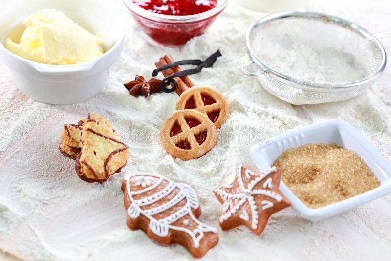 Baking ingredients for cookies and gingerbread. Baking ingredients for pie or cookies and gingerbread stock photography