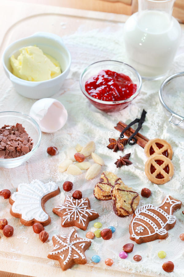 Baking ingredients for cookies or gingerbread