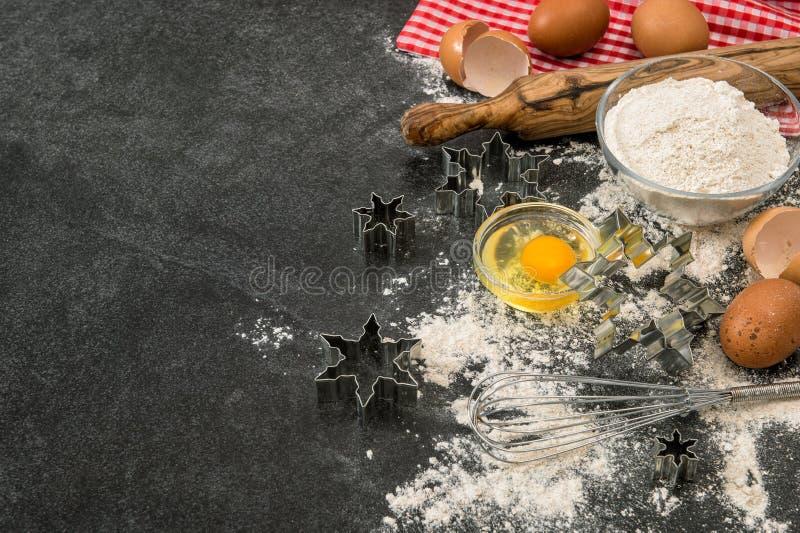 Baking ingredients Flour eggs rolling pin Christmas food stock photos