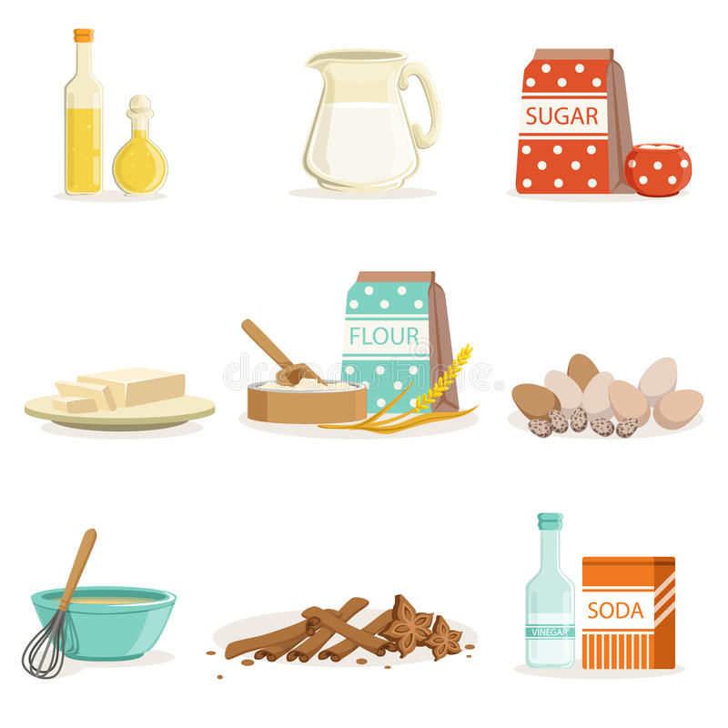 Baking Ingredients And Kitchen Tools And Utensils Collection Of Realistic Cartoon Vector Illustrations With Cooking vector illustration