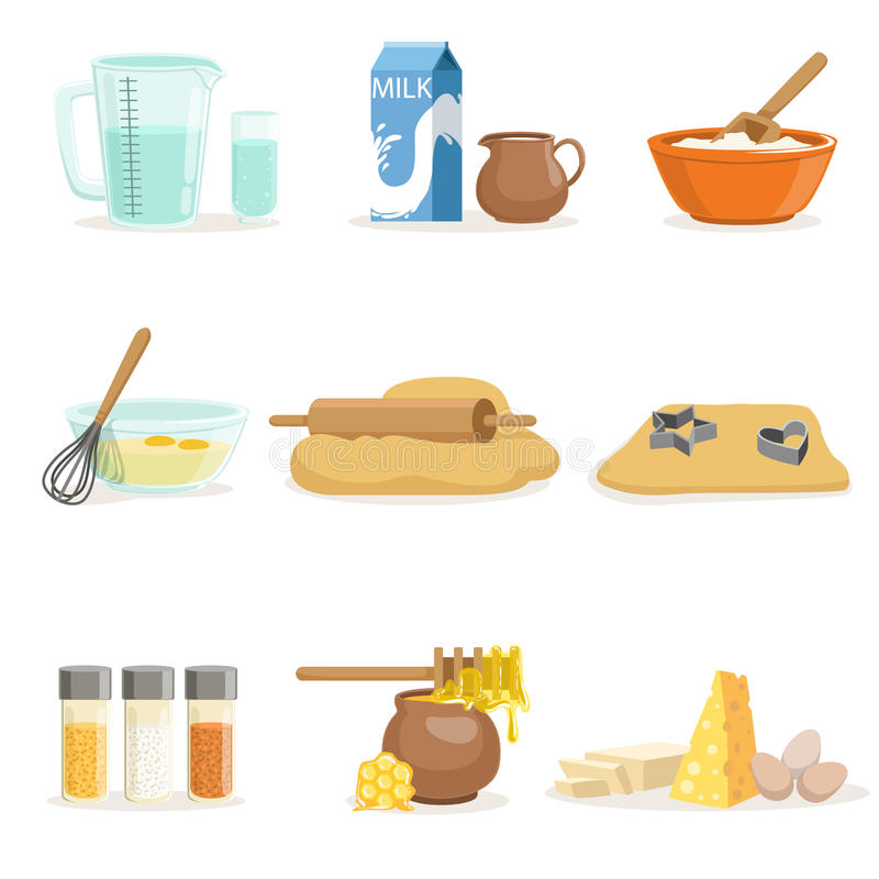 Download Baking Ingredients And Kitchen Tools And Utensils Set Of Realistic  Cartoon Vector Illustrations With Cooking