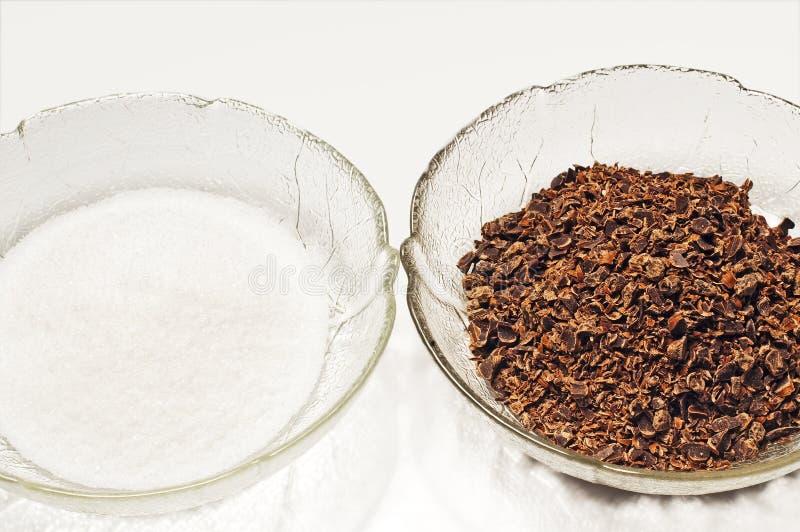 Download Baking Ingredients, Sugar And Grated Chockolate Stock Image - Image: 24228927