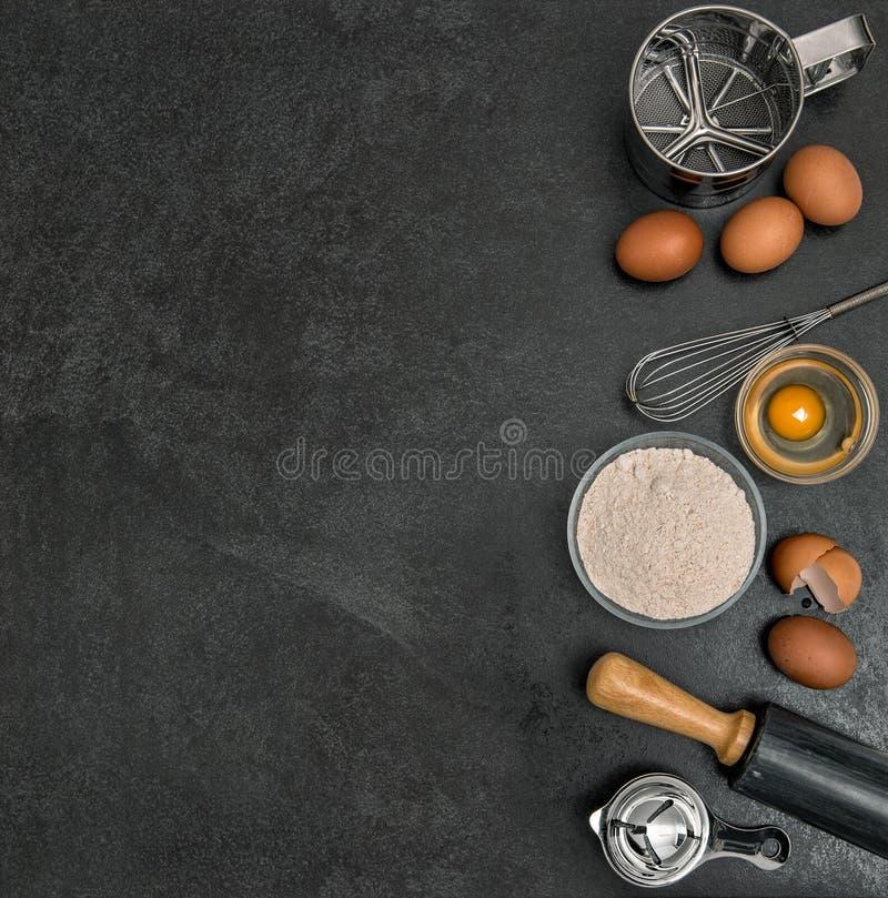 Baking ingredients tolls dough preparation Flour eggs rolling pin stock photo