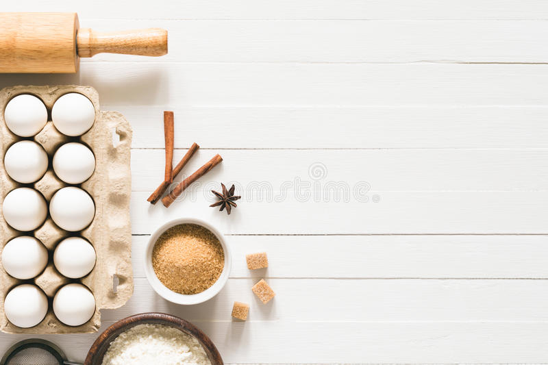 Merveilleux Download Baking Ingredients On White Wooden Table Background Stock Image    Image Of Pastry, Bake