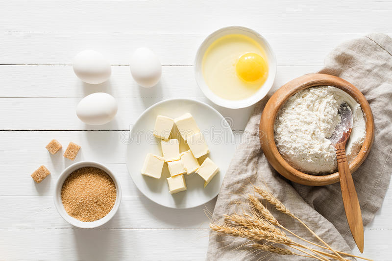 Butter Cake Recipe In Sinhala Download: Baking Ingredients On White Wooden Table Background Stock