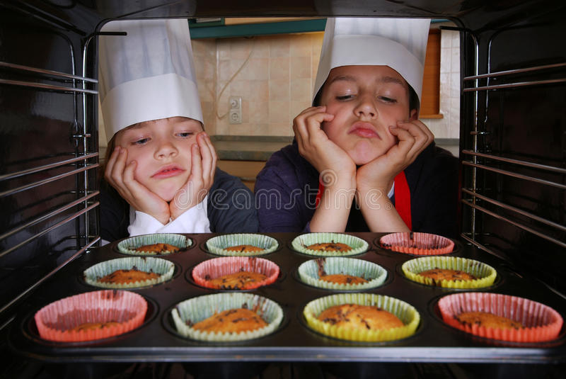 Baking muffins royalty free stock photos