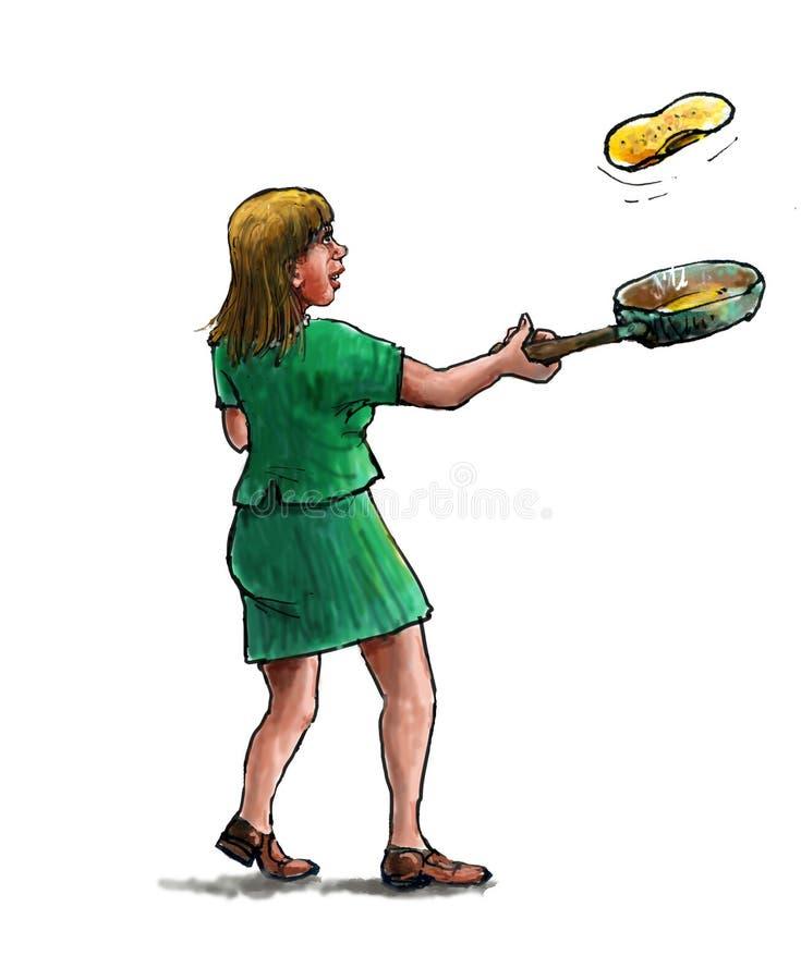 Baking pancakes royalty free stock images