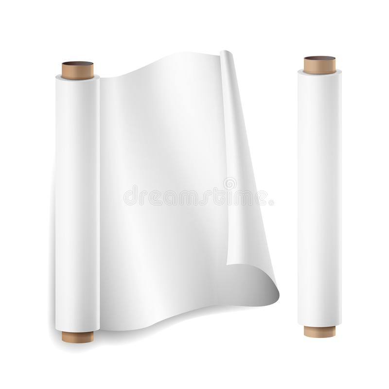 Baking Paper Roll Vector. Close Up Top View. Opened And Closed. Parchment For Baking Culinary. Realistic Illustration. Isolated vector illustration