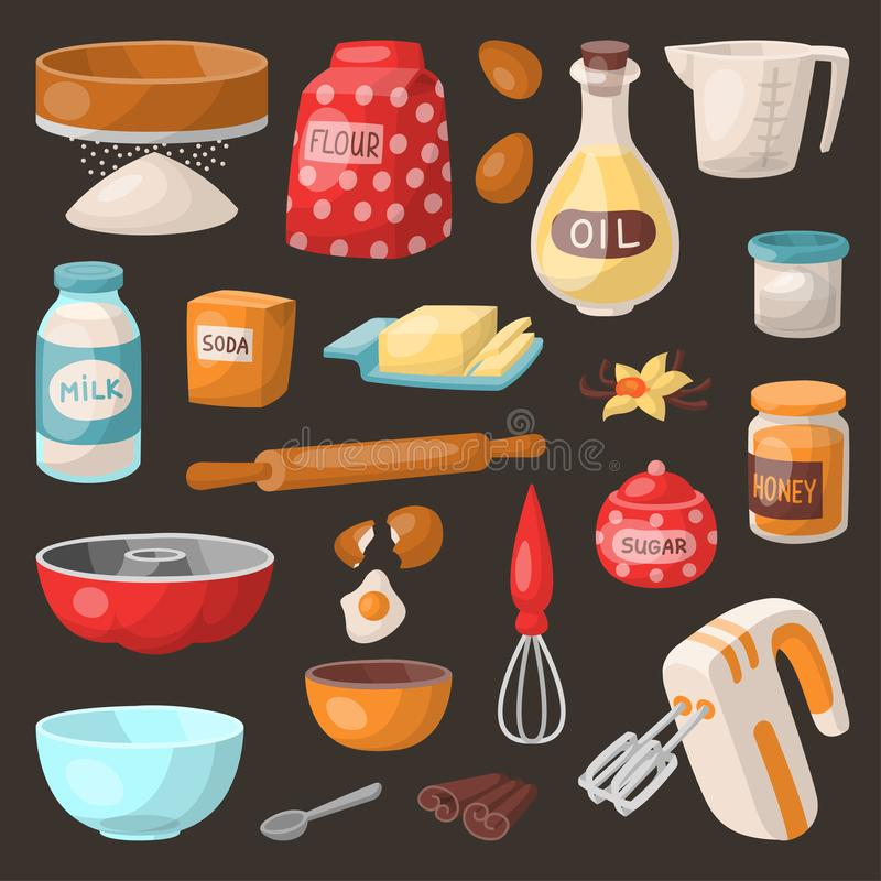 Baking pastry prepare cooking ingredients kitchen utensils homemade food preparation baker vector illustration. Traditional cake recipe dessert culinary tools vector illustration