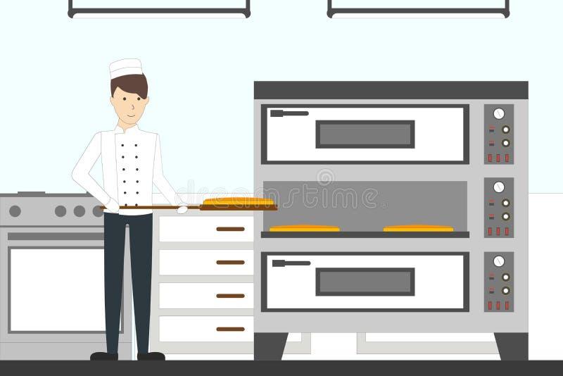 Baking pizza in the restaurant. stock illustration