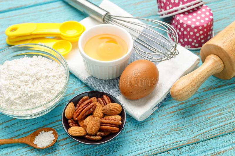 Baking preparation with almond and pecan stock images
