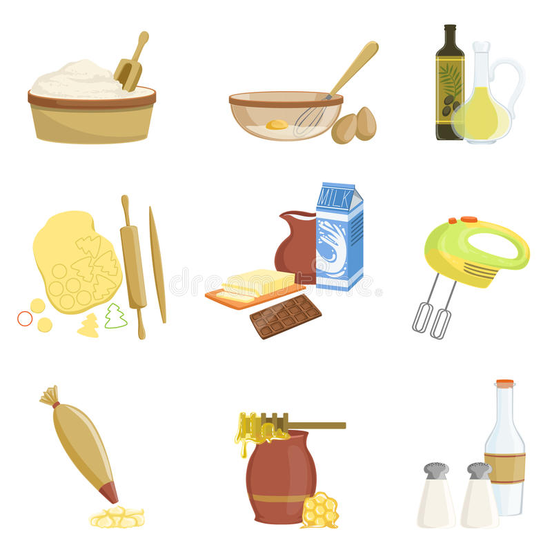 Baking Process And Kitchen Equipment Set Of Isolated Items. Simplified Realistic Flat Vector Drawings On White Background royalty free illustration