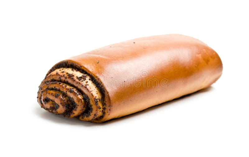 Baking roll with poppy seeds stock images