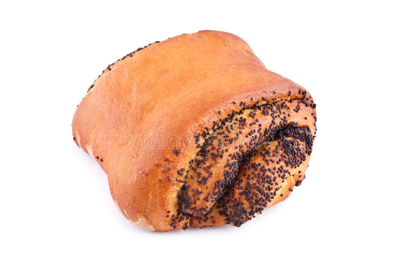 Baking roll with poppy seeds stock photo