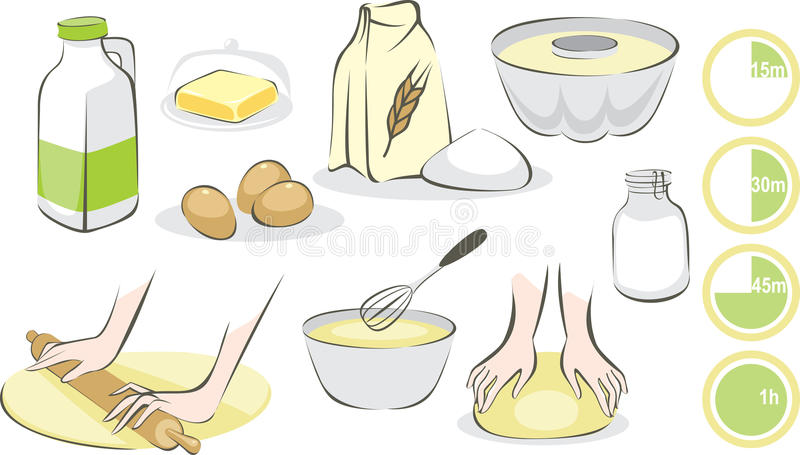 Baking set. Set of products and utensils for baking royalty free illustration