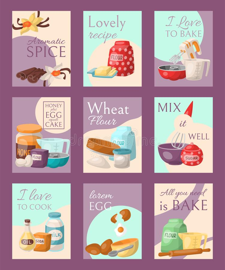 Free Baking Set Of Cards Vector Illustration. Aromatic Spice, Lovely Recipe, I Love To Bake Or Cook, Honey Plus Eggs Equals Royalty Free Stock Photos - 141094388