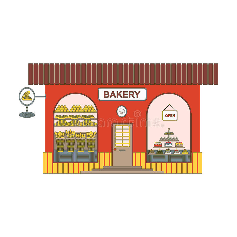 Baking shop cartoon icon in flat style. Bakery showcase on city streets. Design element for past in the game or ui app royalty free illustration