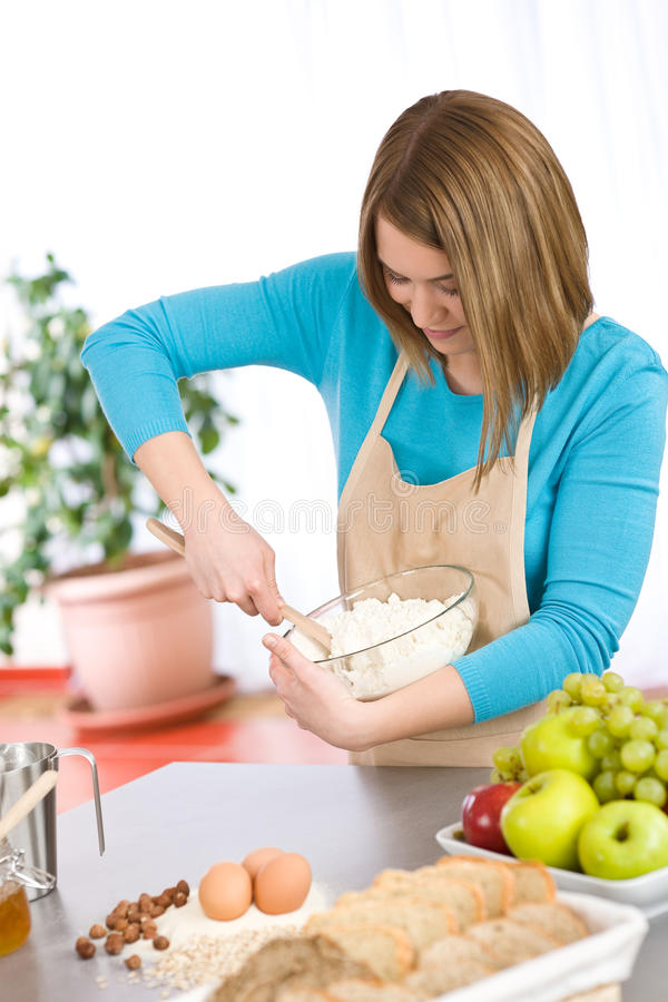 Download Baking - Smiling Woman With Healthy Ingredients Stock Photo - Image of fruit, ingredients: 14066800