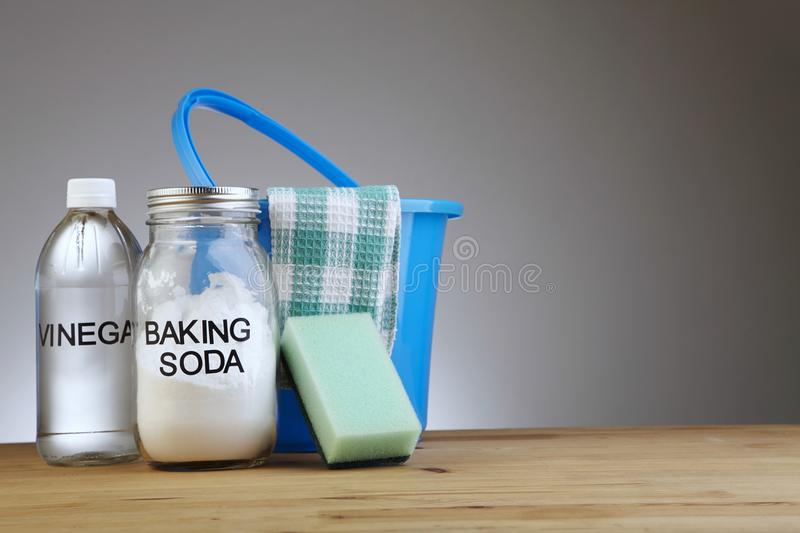 Baking soda with vinegar stock photos
