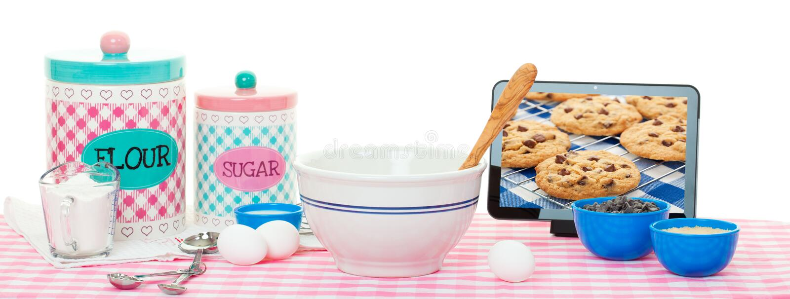 Download Baking With Tablet Computer Stock Image - Image of baking, computer: 28984621