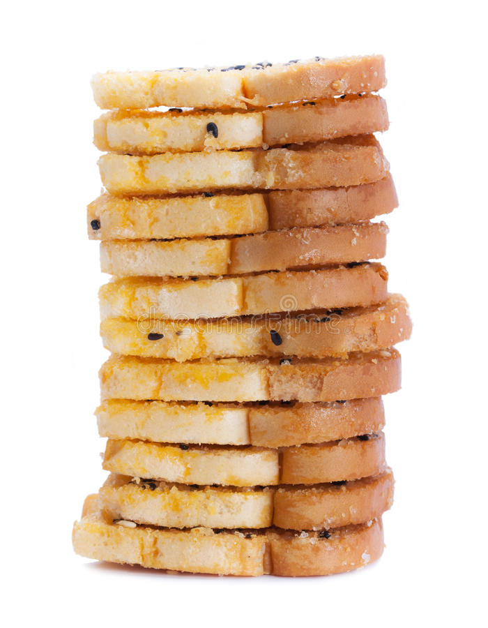 Download Baking Toast With Sugar And Sesame Stack On White Background Stock Image - Image of homemade, food: 39510703