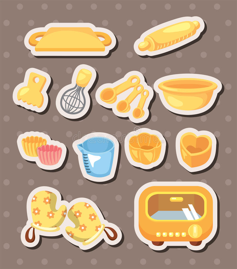 Baking tools stickers vector illustration