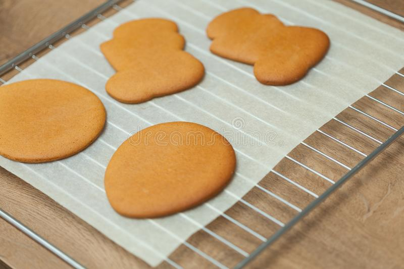 Baking tray with Christmas raw cookies royalty free stock photos