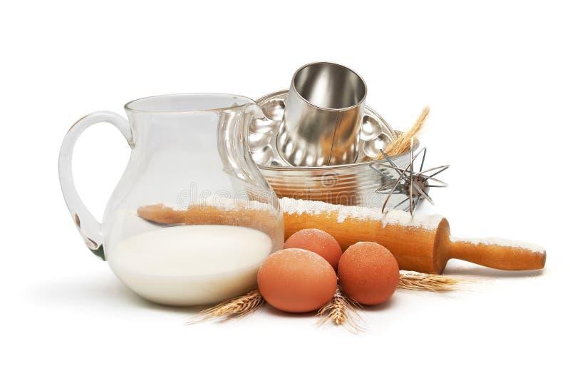 Baking utensil and ingredients royalty free stock photo