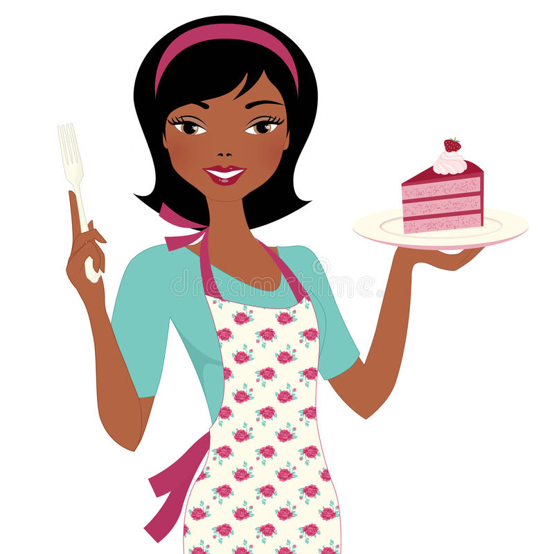Baking Woman with cake royalty free illustration