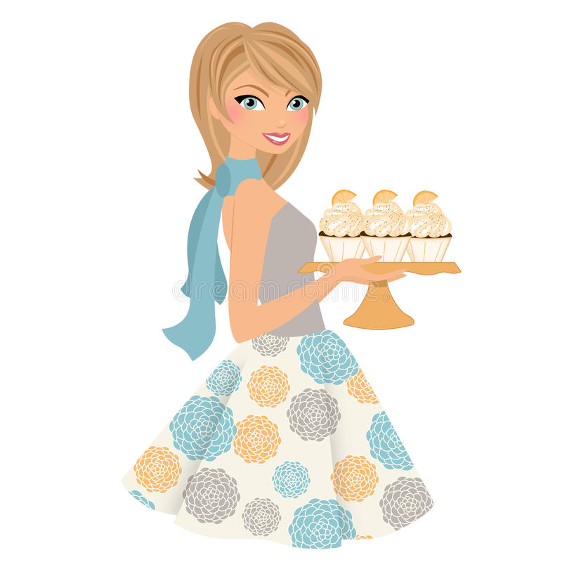 Baking woman with cupcakes. Girl holding plate with orange frosted cupcakes royalty free illustration