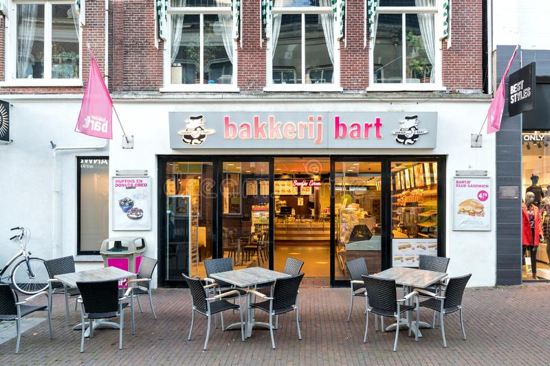 Bakker Bart shop in Sneek, the Netherlands. Bakker Bart is the largest bakery chain in the Netherlands stock image