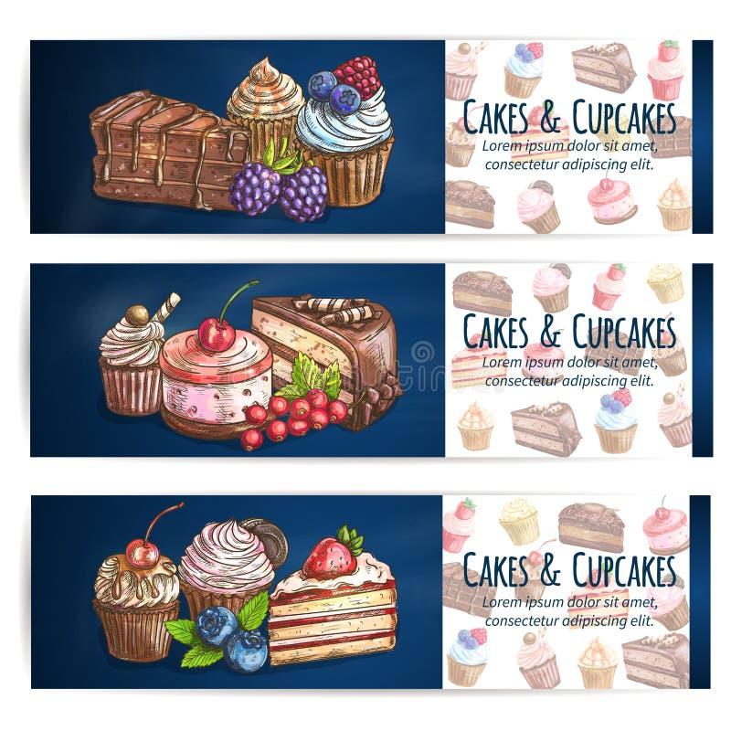 Bakkerij, banketbakkerij, gebakjes, dessertsaffiche royalty-vrije illustratie