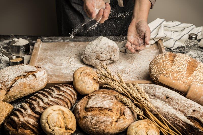 Bakkerij - de bakkers` s handen bestrooien ruw deeg met bloem stock foto
