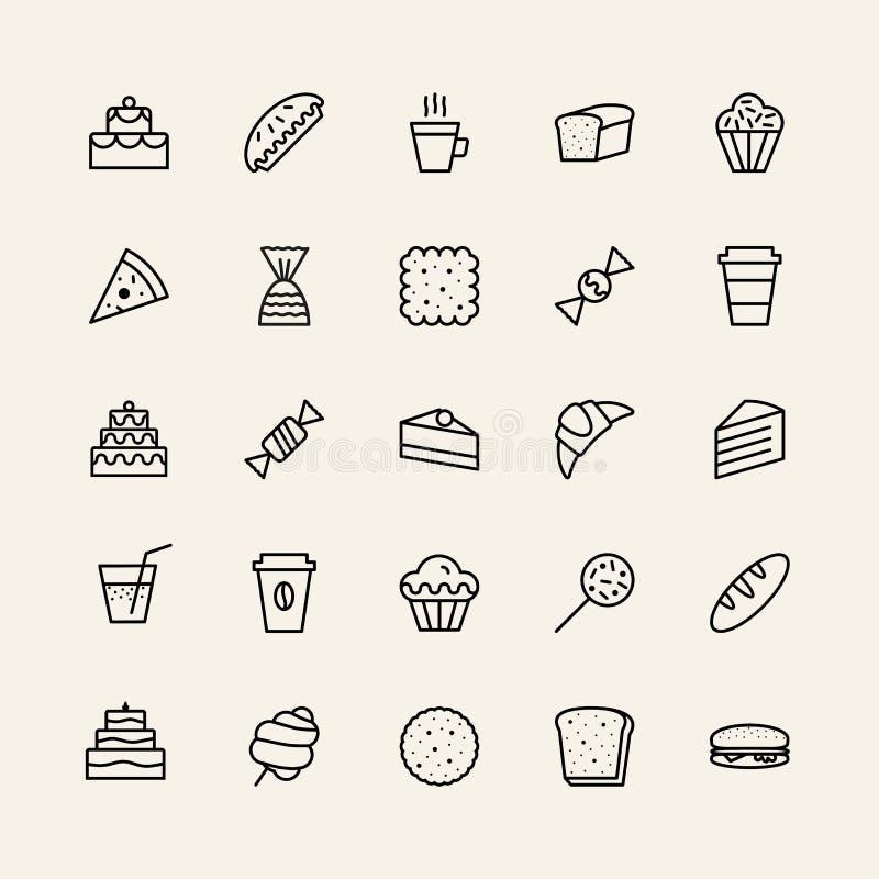 Bakkerij eenvoudige pictogrammen geplaatst lijnstijl zwarte kleur vector illustratie