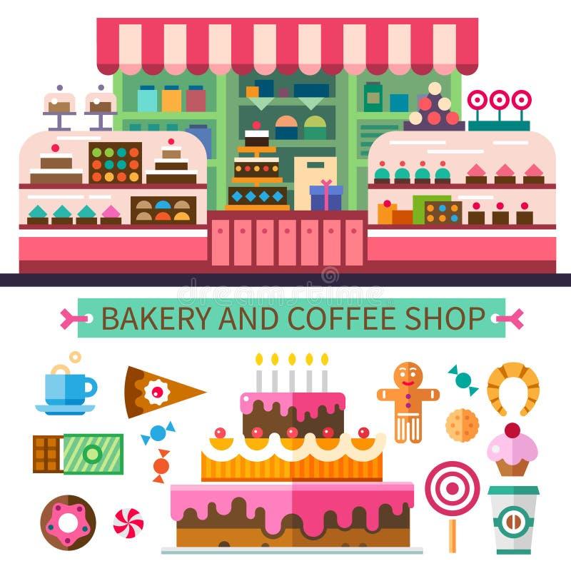 Bakkerij en koffiewinkel vector illustratie
