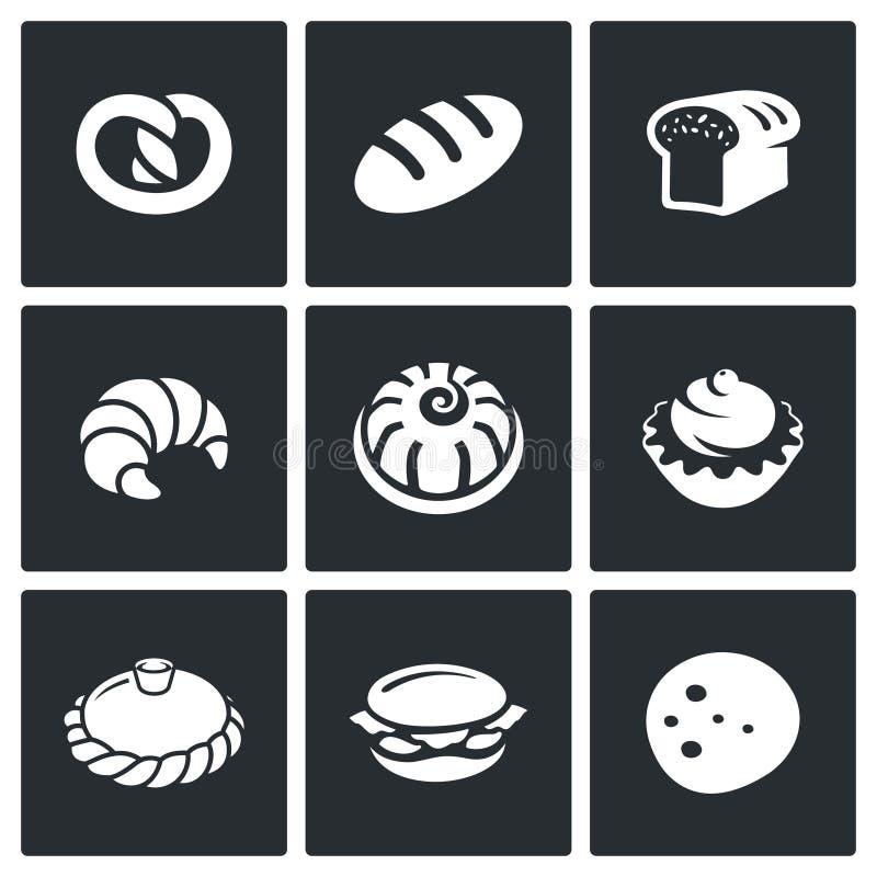 Bakkerij en snel voedselpictogramreeks stock illustratie
