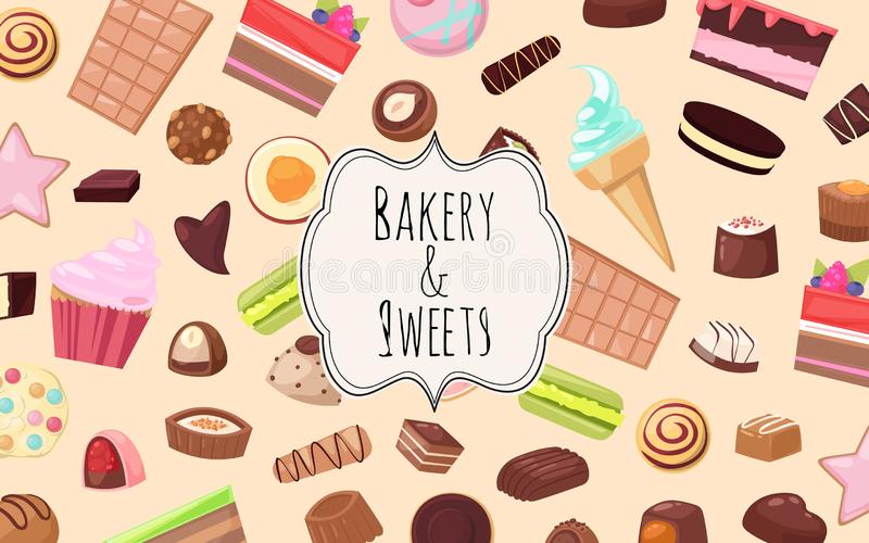 Bakkerij en snoepjesreeks van het ontwerp vectorillustratie van het bannersweb Suikergoedwinkel met stukken van fruitcake met gal royalty-vrije illustratie
