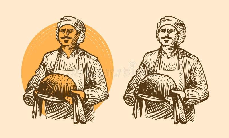 Bakkerij, gebakjesconcept Kok of bakker met heet brood in handen Schets vectorillustratie royalty-vrije illustratie
