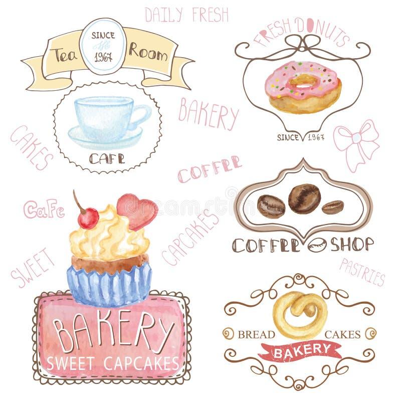 Bakkerij, koffieemblemen Waterverf zoete cakes, caffee vector illustratie