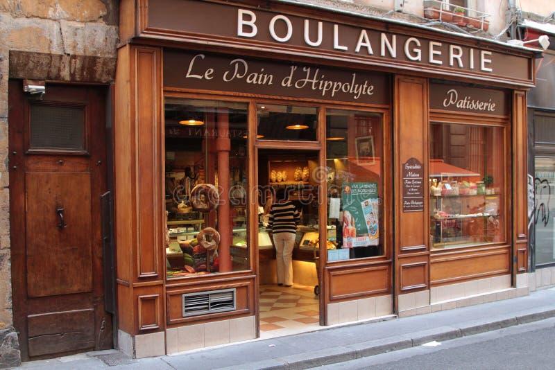 Bakkerij in Lyon stock afbeelding