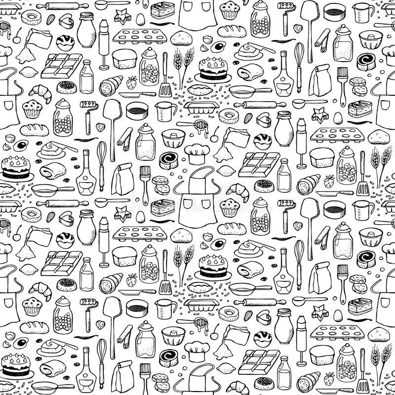 Bakkerij naadloos patroon vector illustratie