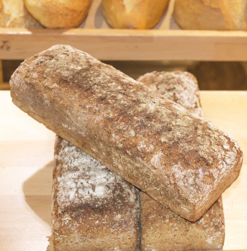 Bakkerij, plank, drie, broden, rogge, brood, bloem, vanille, voedsel, royalty-vrije stock afbeelding