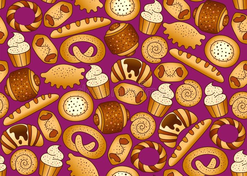 Bakkerij smakelijke grappige producten op de naadloze vectorachtergrond royalty-vrije stock afbeeldingen