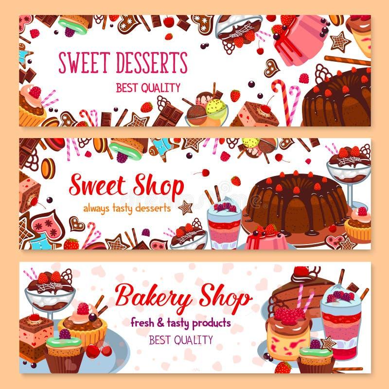 Bakkerij vectorbanners voor zoete dessertwinkel royalty-vrije illustratie