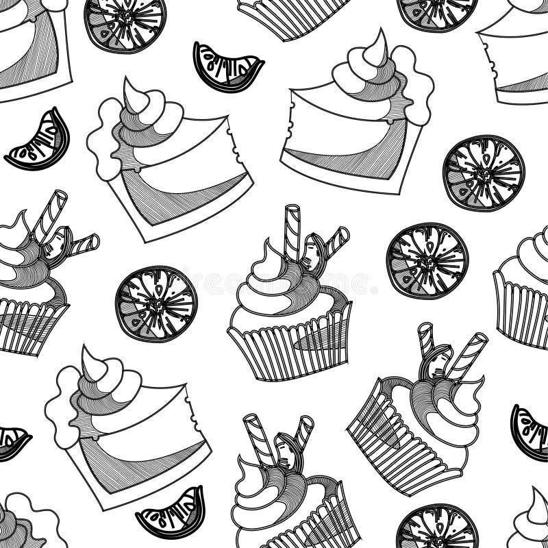 Bakkerijcake en cupcake sinaasappel in zwart-wit naadloos patroon stock illustratie