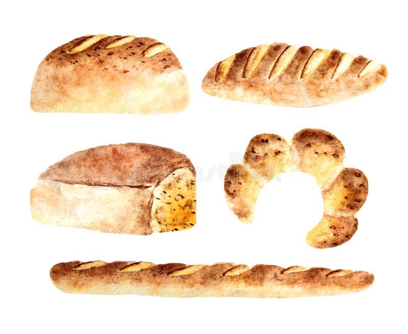 Bakkerijen van het waterverf de verse brood vector illustratie