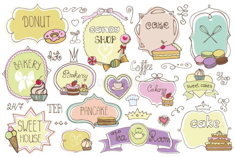 Bakkerijetiketten, kentekens setwith cakes Uitstekende krabbels vector illustratie