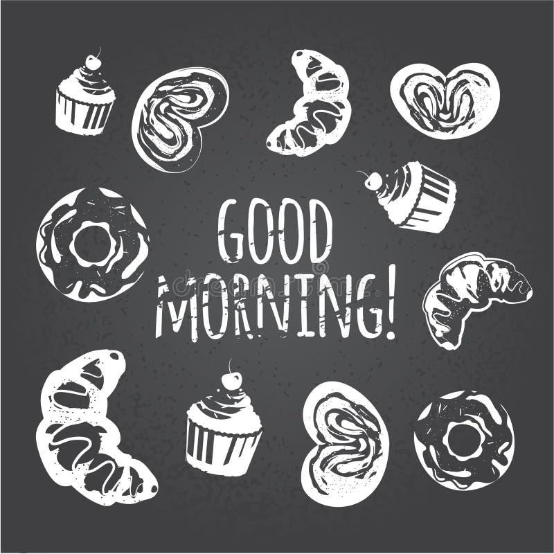 Bakkerijmenu Zoet geplaatst dessert: cupcake, croissant, donuts, cake met bessen Krijttekening stock illustratie