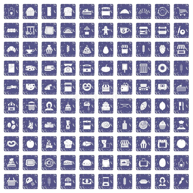 Download 100 Bakkerijpictogrammen Geplaatst Grunge Saffier Vector Illustratie - Illustratie bestaande uit pompoen, honing: 107708024