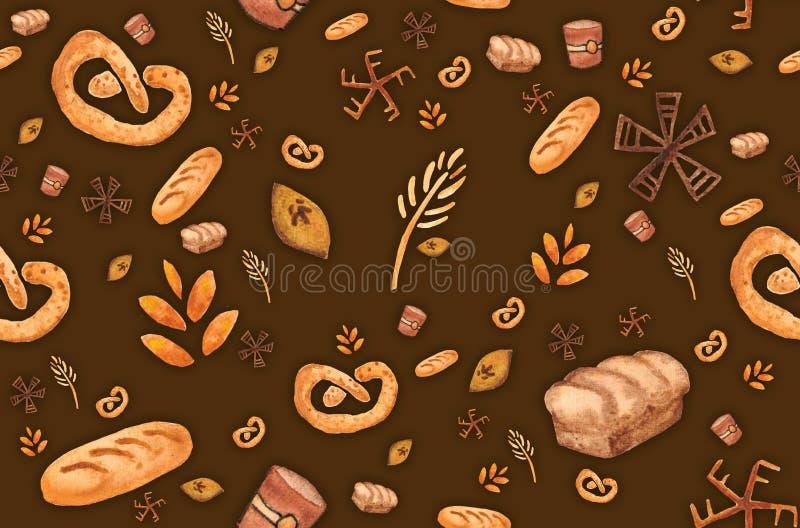 Bakkerijproducten, het bakken druk Gebakje naadloos patroon Leuke keukenachtergrond royalty-vrije illustratie